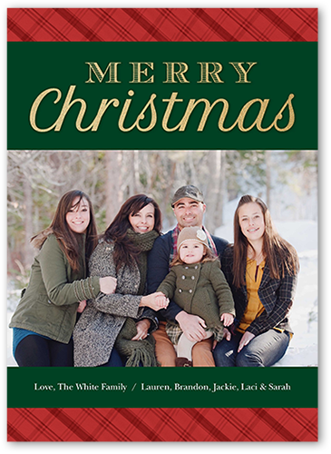 Simple Plaid Merry Christmas Card, Square Corners