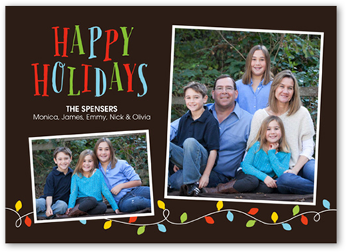 Colorful Lights Holiday Card, Square Corners