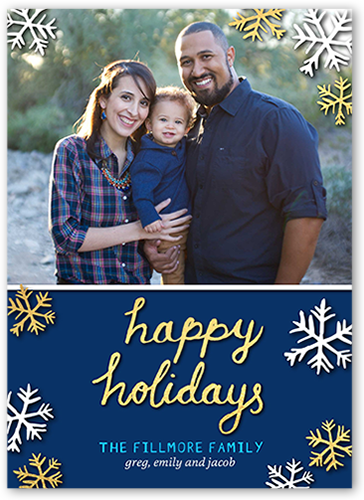 Happy Sentiment Holiday Card, Square Corners