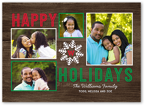 Wooden Sentiment Holiday Card, Square Corners