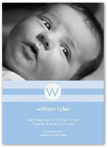 Monogram Melody Blue Birth Announcement, Square Corners