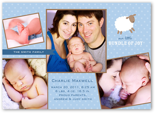 Little Lamb Blue Birth Announcement, Square Corners