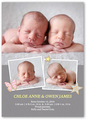 Wondrous Welcome Twins 5x7 Twin Birth Announcements