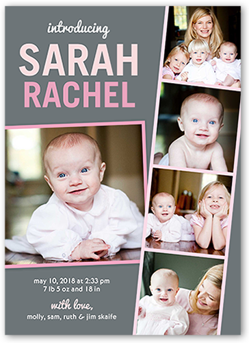 Filmstrip Fun Girl Birth Announcement