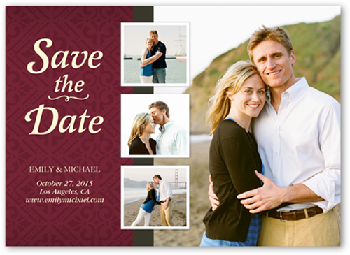 Detailed Damask Save the Date, Square Corners