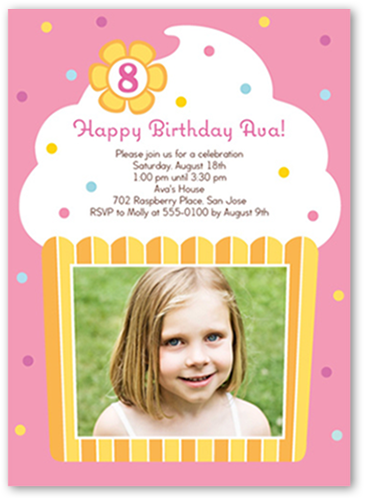 Vanilla Cupcake Birthday Invitation