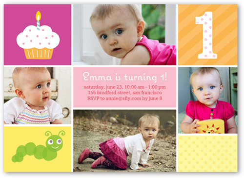 One Is Fun Girl Birthday Invitation, Square