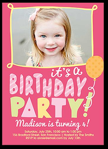 Bubbly Birthday Girl Birthday Invitation, Square Corners