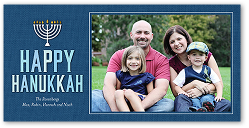 Denim Menorah Hanukkah Card