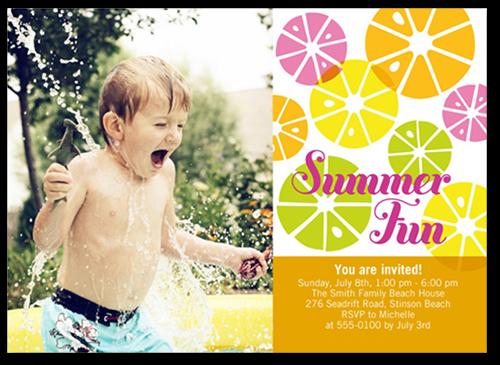 Citrus Sweet Summer Invitation, Square Corners