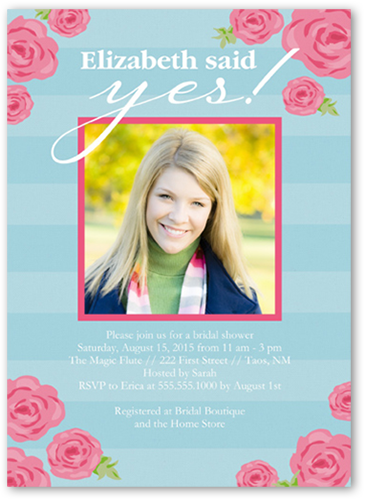 Roses And Stripes Bridal Shower Invitations | Bridal Invitations