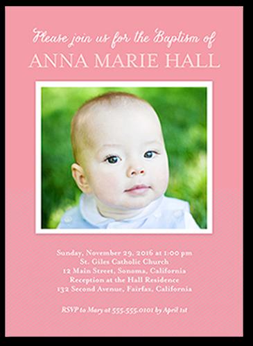 Solid Frame Girl Baptism Invitation, Square Corners