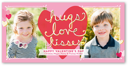 Hugs Love Kisses Valentine's Card, Square Corners