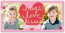 hugs love kisses valentines card 4x8 photo