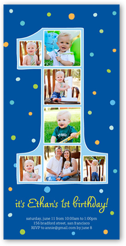 Number One Filmstrip Boy Birthday Invitation, Square