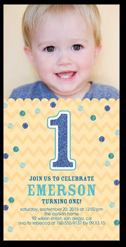 Glitter Confetti Boy Birthday Invitation, Square Corners