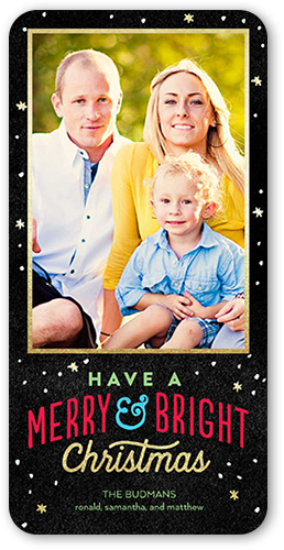 Merry And Bright Snowfall Christmas Card, Rounded Corners