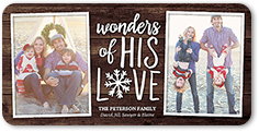 wonders of his love religious christmas card 4x8 photo