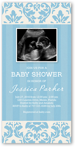 Dreamy Damask Boy Baby Shower Invitation, Square Corners