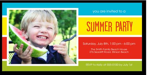 Summer Stripes Summer Invitation, Square Corners