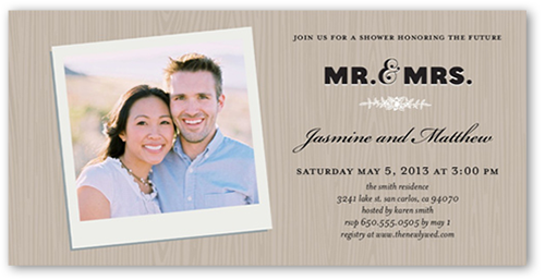 Woodgrain Frame Bridal Shower Invitation, Square Corners