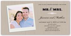 woodgrain frame bridal shower invitation 4x8 photo
