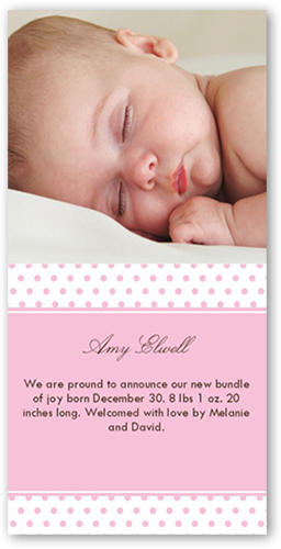 Dots Rose Birth Announcement, Square Corners