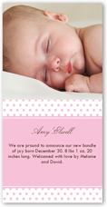 dots rose birth announcement 4x8 photo