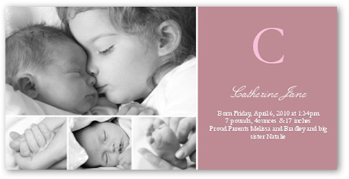 Initial Impression Pink Birth Announcement