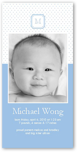 Memento Monogram Blue Birth Announcement, Square Corners