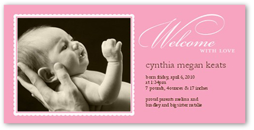 Tonal Type Pink Birth Announcement