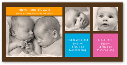 Modern Twins Birth Announcement, Square Corners
