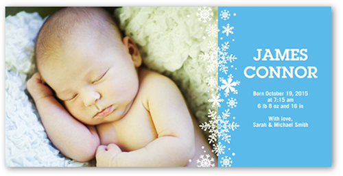 Sweet Flurries Boy Birth Announcement, Square Corners