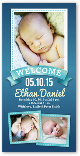 Welcoming Banner Boy Birth Announcement, Square Corners
