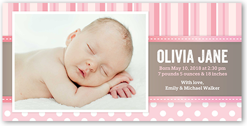 Pure Perfection Girl Birth Announcement, Square Corners