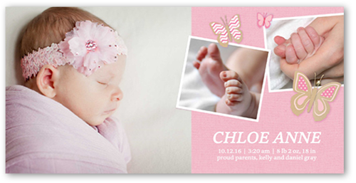Fluttering Butterfly Girl Birth Announcement