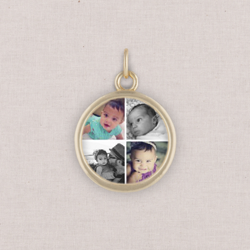 Gold Gallery of Four Photo Charm, Circle, White