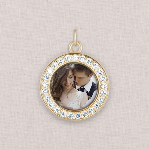 Gold Photo Charm, Crystal Halo, White