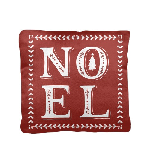 Noel Pillow, Cotton Weave, Pillow (Black), 16 x 16, Single-sided, Red