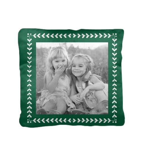 Mistletoe Frame Pillow, Cotton Weave, Pillow, 16 x 16, Double-sided, Green