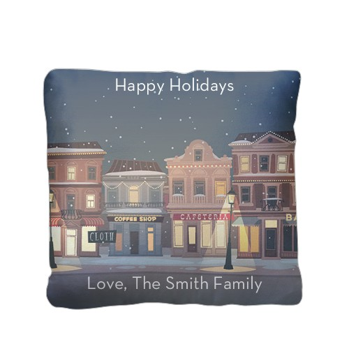 Holiday Street Pillow, Plush, Pillow (Plush), 16 x 16, Single-sided, White