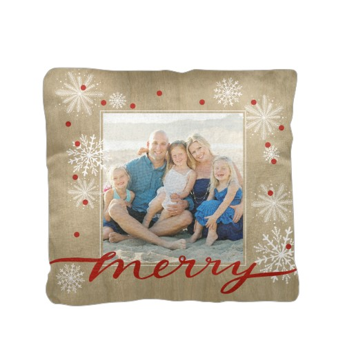 Merry Craft Pillow, Cotton Weave, Pillow (Ivory), 16 x 16, Single-sided, Beige