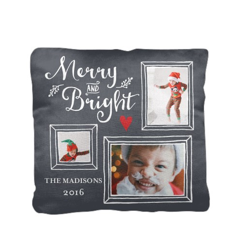 Merry And Bright Pillow, Cotton Weave, Pillow (Ivory), 16 x 16, Single-sided, Grey