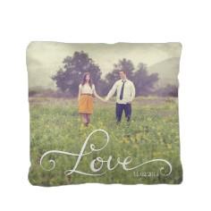 hand lettered love pillow