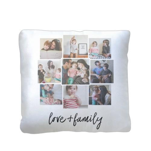 Love and Family Pillow, Plush, Pillow (Plush), 16 x 16, Single-sided, White