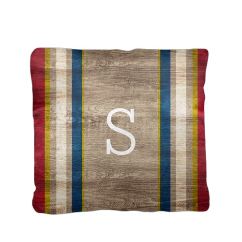 Adventure Rustic Stripe Pillow, Cotton Weave, Pillow (Ivory), 16 x 16, Single-sided, Red