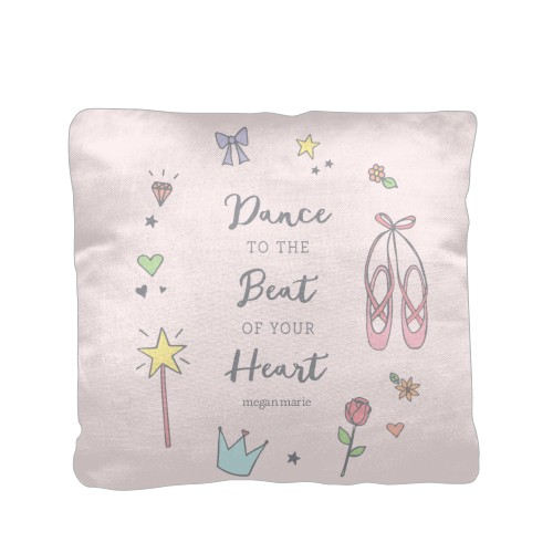 Princess Dance To The Beat Pillow, Cotton Weave, Pillow (Ivory), 16 x 16, Single-sided, Pink