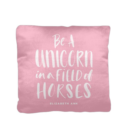 Princess Field Of Horses Pillow, Cotton Weave, Pillow (Ivory), 16 x 16, Single-sided, DynamicColor