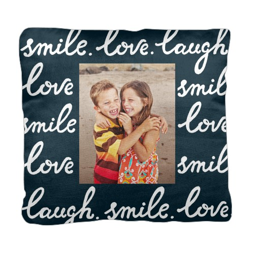Smile Laugh Love Pillow, Cotton Weave, Pillow (Ivory), 18 x 18, Single-sided, DynamicColor