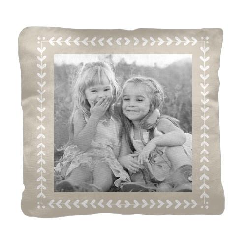 Mistletoe Frame Pillow, Cotton Weave, Pillow (Ivory), 18 x 18, Single-sided, Beige